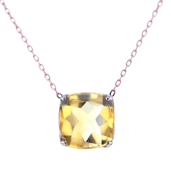 Radiant Cut Citrine Pendant Necklace in Sterling Silver Setting