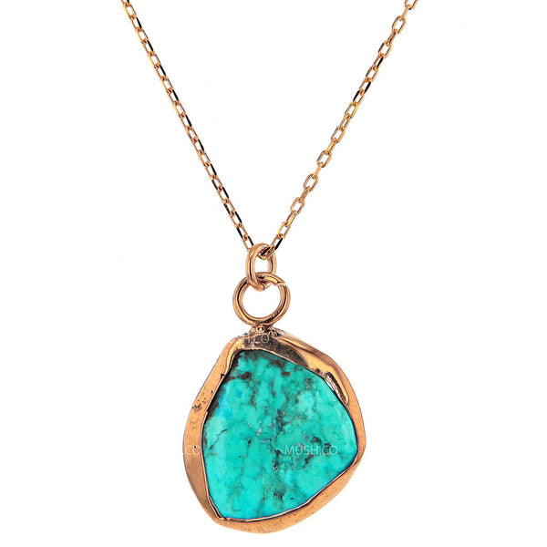 14K Gold Plate Sterling Silver and Live Edge Turquoise Pendant Necklace
