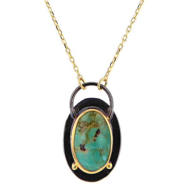 Black Rhodium Plate & 14K Gold Plate Oval Turquoise Pendant Necklace