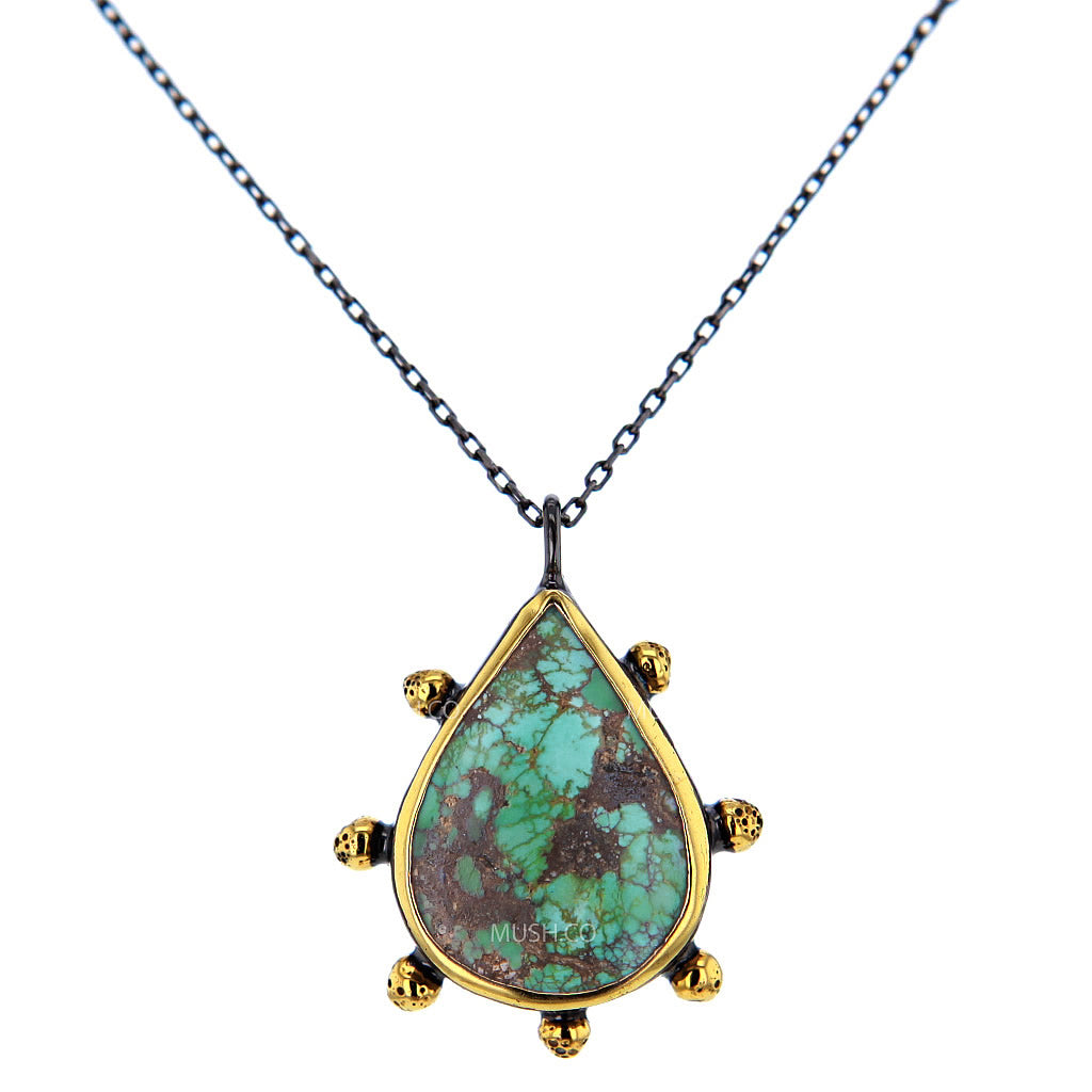 Antalya Artisan Turquoise Necklace in Black Rhodium & 14K Gold Plated Sterling Silver