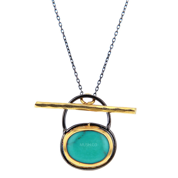 Blue Oval Turquoise Pendant Necklace in Black Rhodium and 14K Gold Plated Sterling Silver