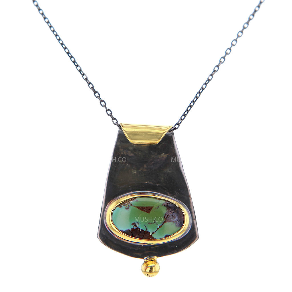 Black Rhodium & 14K Gold Plate Oval Turquoise Pendant Necklace