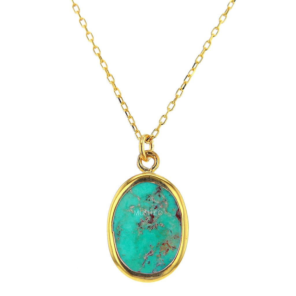 14K Gold Plate Sterling Silver and Turquoise Pendant Necklace