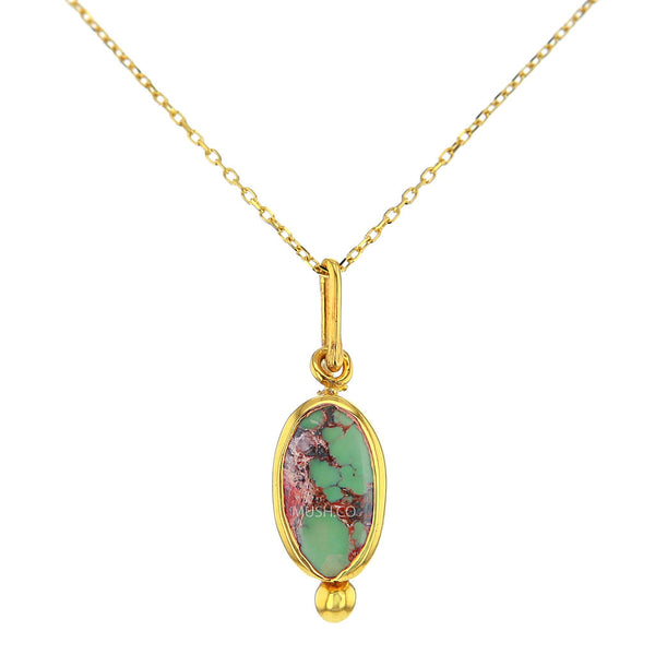 Petite 14K Gold Plate Sterling Silver and Turquoise Pendant Necklace