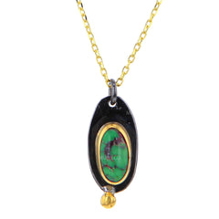 Black Rhodium Plate & 14K Gold Plate Petite Oval Turquoise Pendant Necklace
