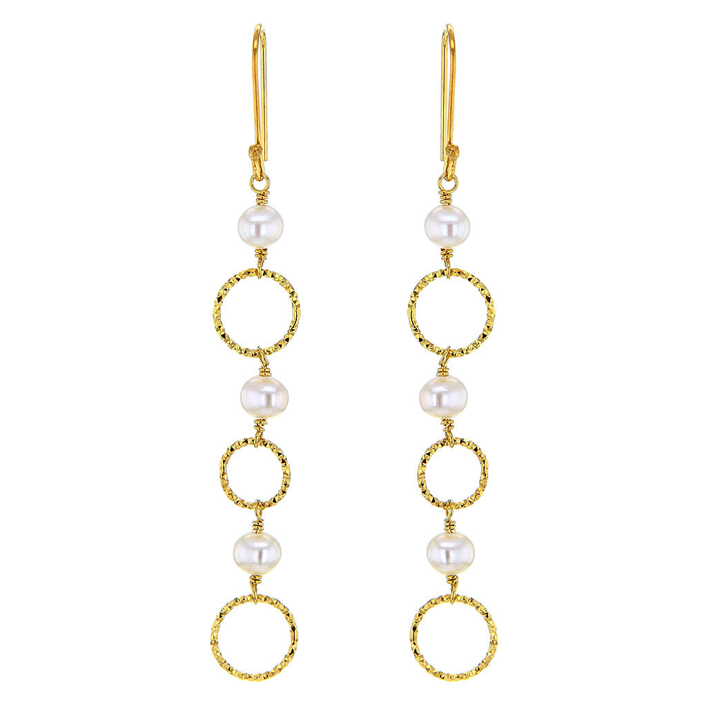 Rough'n'Sheeny String Of Pearl Earrings in 14K Gold Plated Sterling Silver