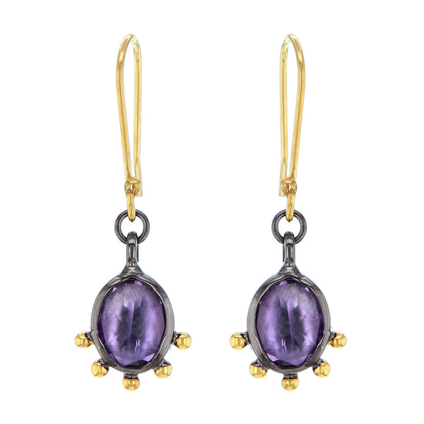 Black Rhodium & 14K Gold Plated Cabuchon Amethyst Earrings