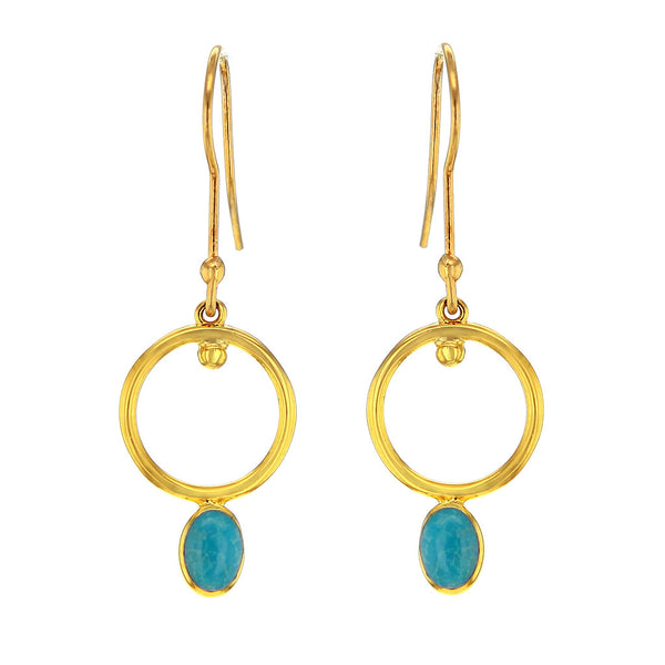 14K Gold Plated Blue Turquoise Earrings