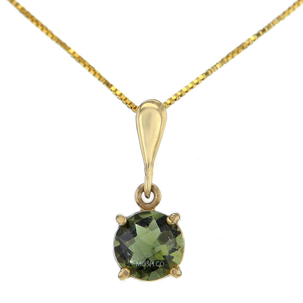 Brightstar Moldavite Pendant Necklace in 14K Solid Gold Setting