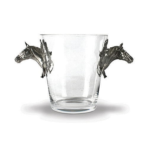 Race Horses Glass Ice Bucket made from Sterling Silver Pewter Hollywood
