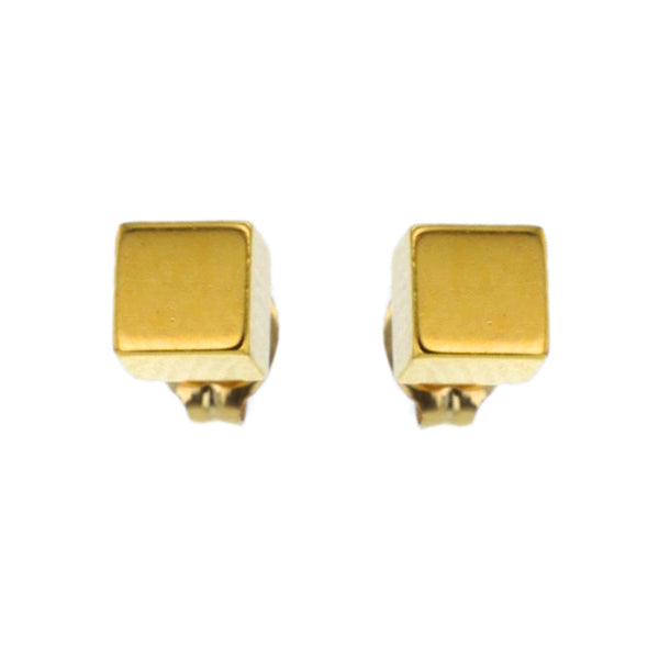 24K Gold & Brass Cube Stud Earrings Hollywood