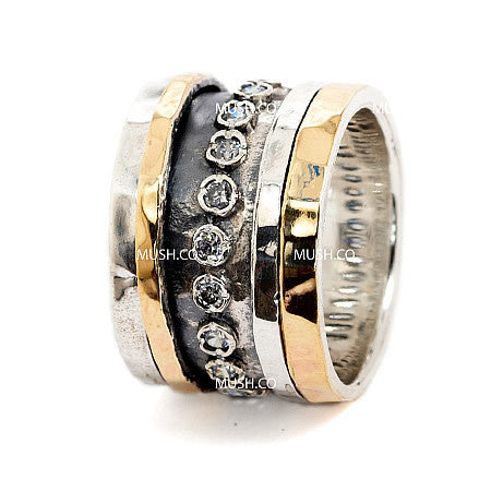 9K Gold Plate & Sterling Silver Ring with 2 Spinning Bands & Infinity Row of Inset CZ Crystals Hollywood