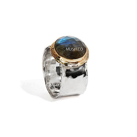 Sterling Silver and 9kt Gold Plate Ring with Multi Faceted Labradorite Gemstone Hollywood
