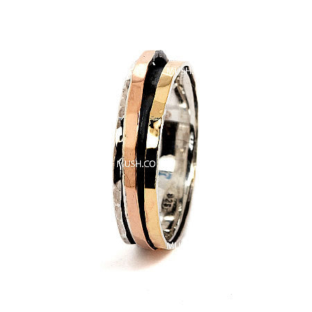 Classic Sterling Silver and 9kt Gold Plate Band with Rose Gold Spinning Element Hollywood