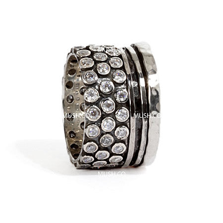 Studded Sterling Silver Barrel ring with 2 spinning bands and inset CZ crystals