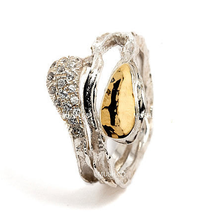 Sterling silver and 9kt Gold plate Ring with inlaid CZ crystals with Abstract free flowing form