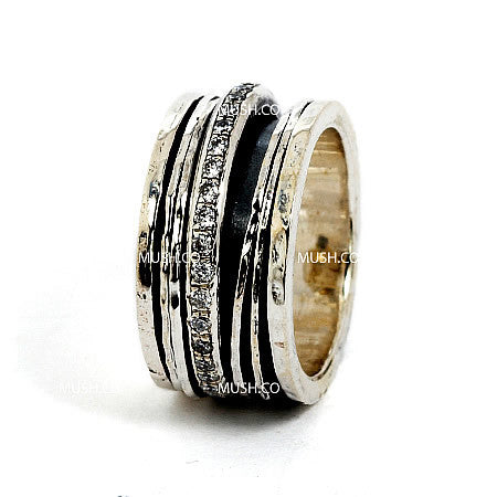 5 Spinning Band Sterling Silver Ring with Inlaid CZ Crystals