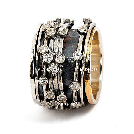 Sterling Silver and 9kt Gold plate Barrel Ring with 5 Studded Spinning Elements Heavily Encrusted in CZ Crystals