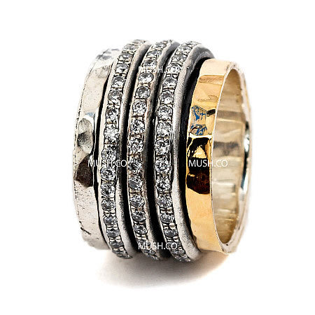 CZ Studded Barrel Ring in Sterling Silver & 9kt Gold Plate with 3 Spinning Bands Hollywood