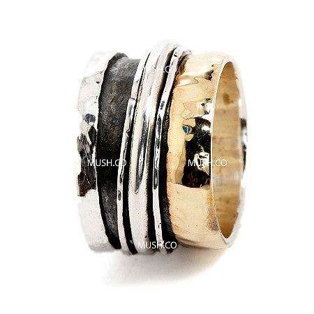 3 Spinning Band Sterling Silver Barrel Ring with 9kt Gold Plate Hollywood