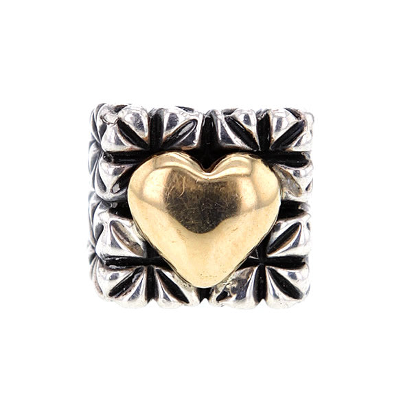 Vintage John Hardy Chunky Square Sterling Silver Ring With Solid 14K Gold Heart Element Size 7
