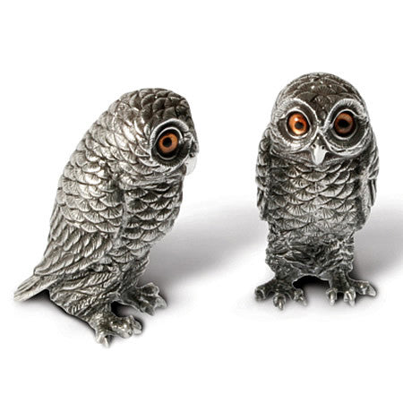 Owls Salt & Pepper Shaker Pair Made From Sterling Silver Pewter