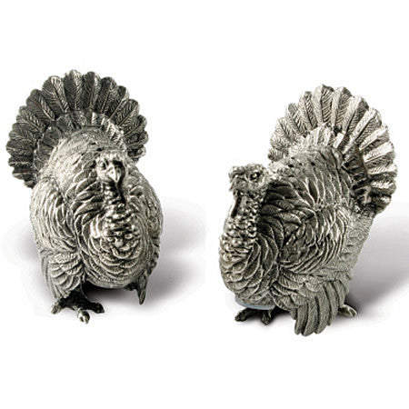 Turkeys Salt & Pepper Shaker Pair Made From Sterling Silver Pewter