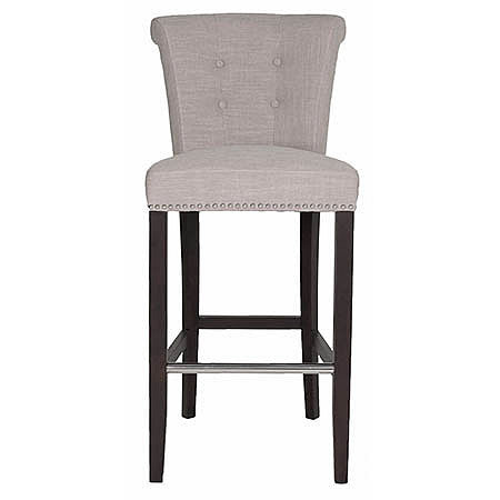 Luxe Bar Stool in Almond Fabric Damask with Small Polished Silver Nails and Silver Ring