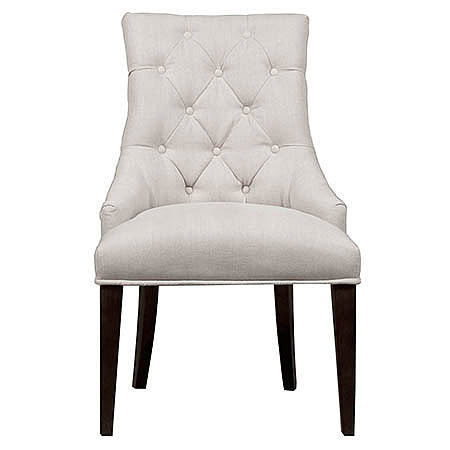 Seventy Four Tufted Side Chair in Oatmeal Linen Damask