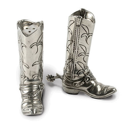 Boots and Spurs Salt and Pepper Saker Set in Sterling Silver Pewter