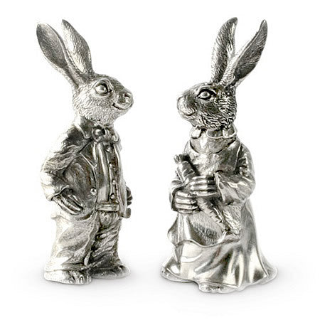 Peter & Flopsy Rabbit Salt & Pepper Shaker Set in Sterling Silver Pewter