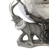 Luxury Bowl Ice Tub with 3 Elephants in Sterling Silver Pewter & Stainless Steel