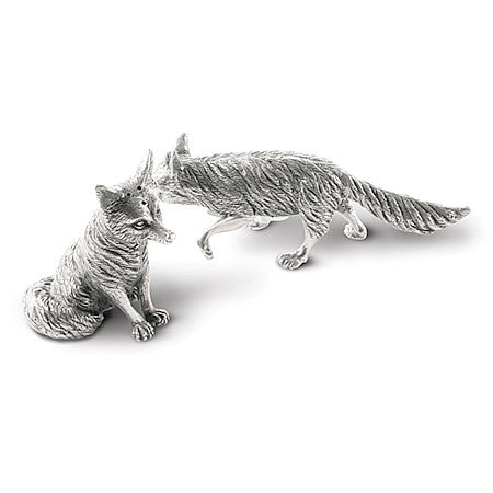 Foxes Salt and Pepper Shaker Set in Sterling Silver Pewter