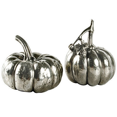 Pumpkin Salt and Pepper Shaker Pair made from Sterling Silver Pewter Hollywood