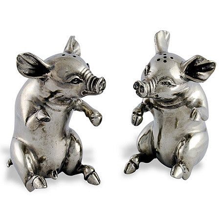 Piggies Salt and Pepper Shaker Pair made from Sterling Silver Pewter Hollywood