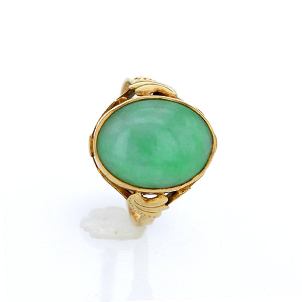 RARE Fine Estate Green Jadeite Jade Solid 18k Yellow Gold Ring Size 9