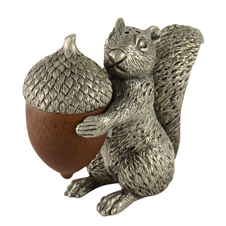 Squirrel with Acorn Salt & Pepper Shaker Pair From Sterling Silver Pewter