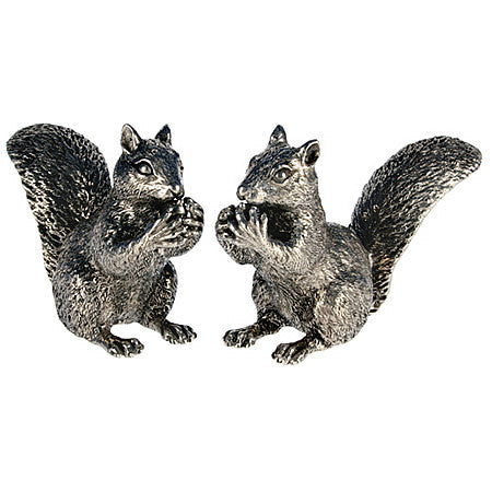 Pair of Squirrels Salt and Pepper Shaker Set made from Sterling Silver Pewter