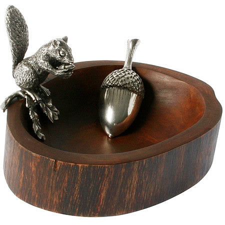 Nut Bowl With Squirrel Holding Acorn in Sterling Silver Pewter & Mango Wood