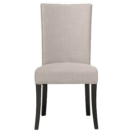 Soho Dining Room Side Chair in Almond Colored Fabric Damask and Espresso Finish with Polished Silver Nail Trim