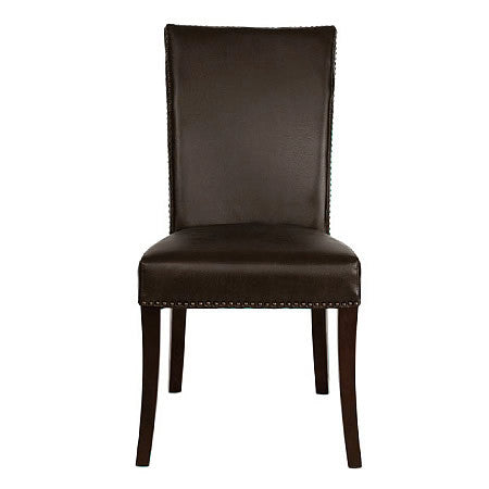 Soho Leather Side Chair in Havana Bonded Leather with Antiqued Brass Tacks Trim