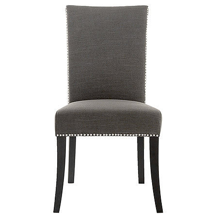 Soho Dining Room Side Chair in Sepia Fabric Damask and Espresso Finish with Polished Silver Nail Trim