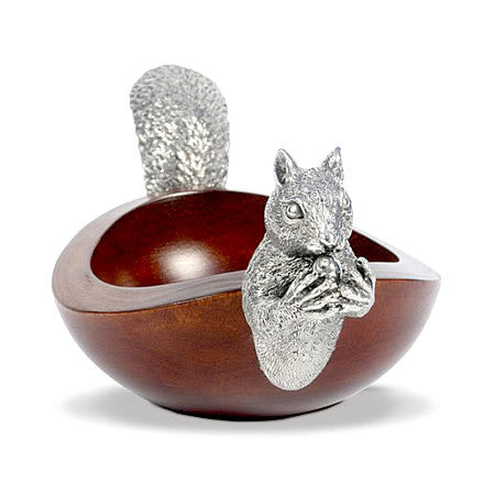 Squirrel Nut Bowl From Mango Wood & Sterling Silver Pewter