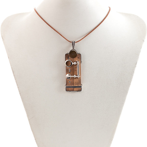 Artisan Sterling Silver Pendant with Antique Wooden Ruler and Flute Keys