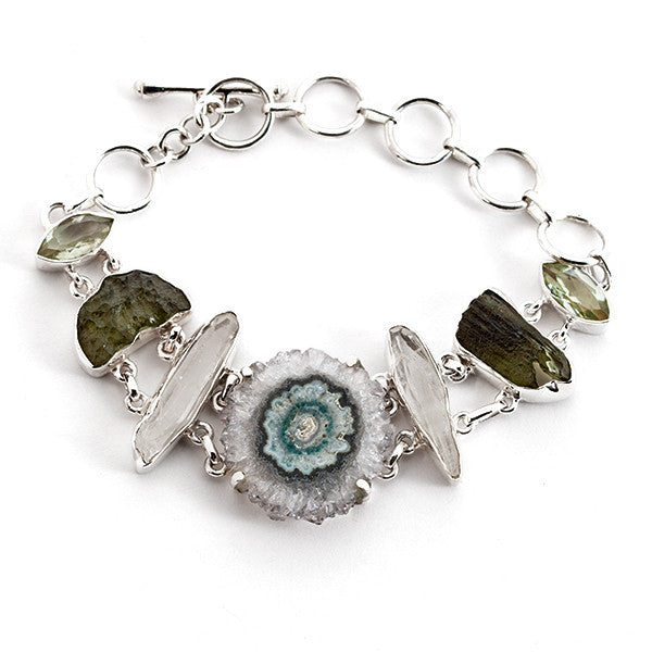 Sterling Silver Bracelet with Stalactite Quartz Crystal and Green Amethyst