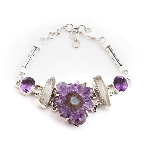 Sterling Silver Bracelet with Stalactite Amethyst and Quartz Crystals