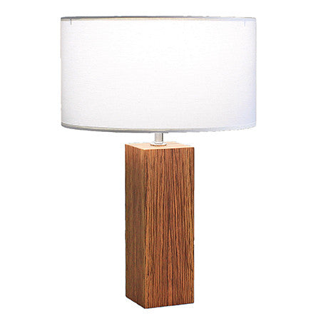 MORGAN Contemporary Table Lamp in Brushed Nickel and Zebra Wood Veneer Base