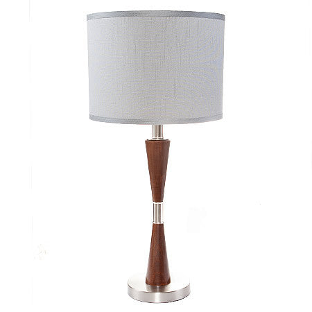 SOPHIE Modern Hourglass Shape Table Lamp with Brushed Aluminum and Walnut Base