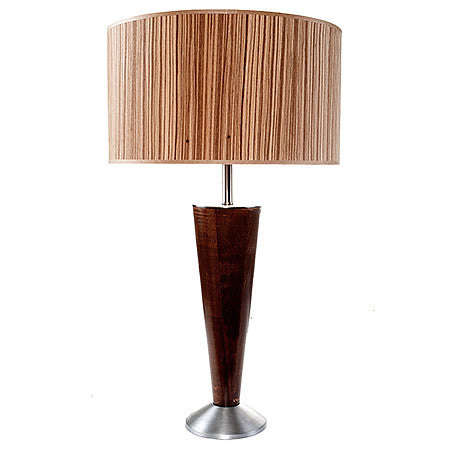 BRUNO Contemporary Funnel Shape Table Lamp Brushed Nickel and Walnut Base