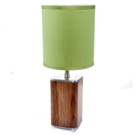 COBB Modern Table Lamp Brushed Nickel and Walnut Base Hollywood